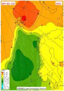 tabell som viser sterkest temperaturøkningen som forventes lengst øst på Svalbard