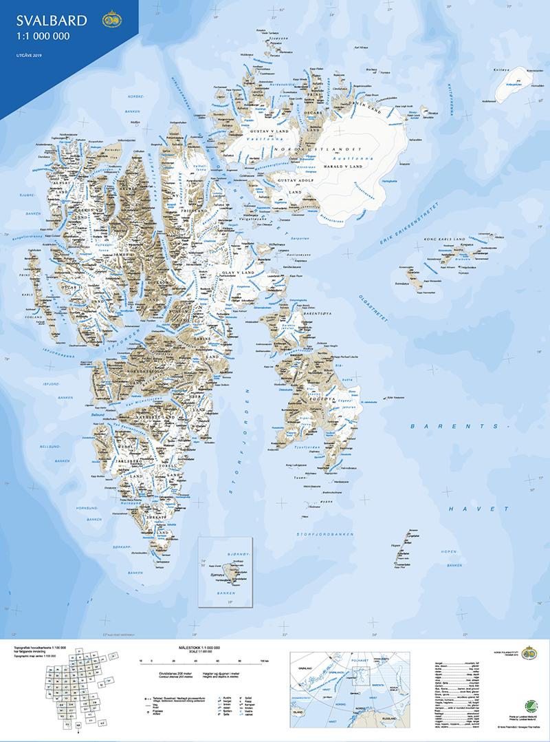 Oversiktskart Svalbard S1000 Norsk Polarinstitutt
