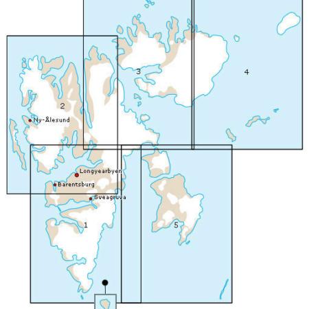 kart over svalbard delt inn i fem kartblad