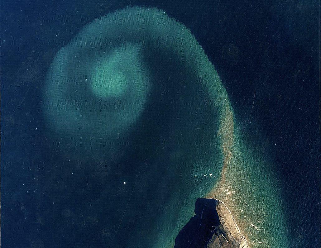 Sandbakker i havet sett fra lufta