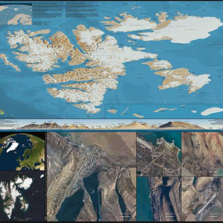 kart og naturbilde i en moasaikk