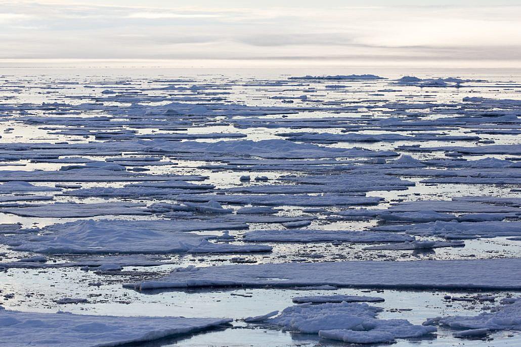 Isflak og hav
