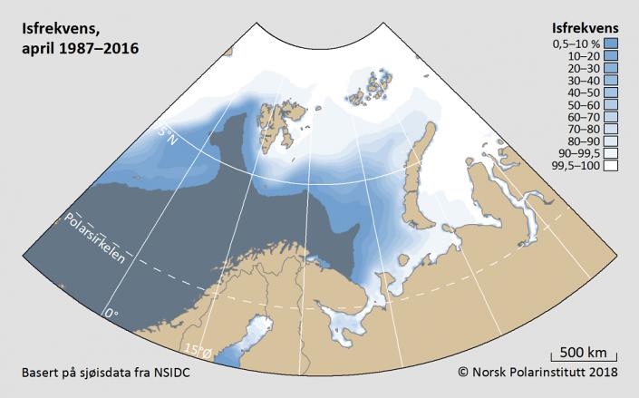 Iskantutbredelse april måned 1987-2016