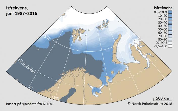 Iskantutbredelse juni måned 1987-2016