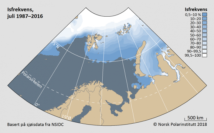 Iskantutbredelse juli måned 1987-2016