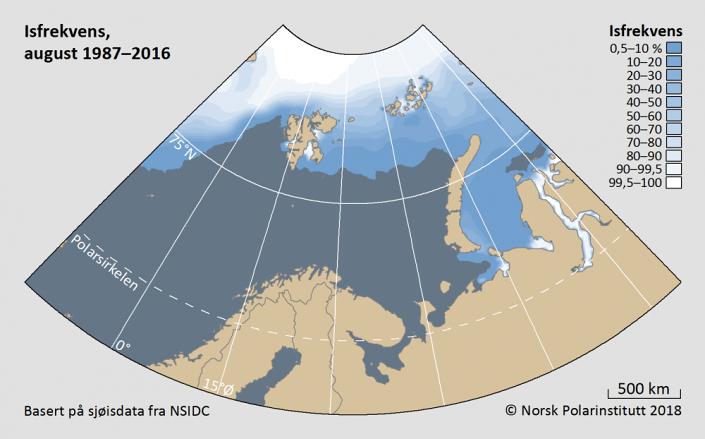 Iskantutbredelse august måned 1987-2016