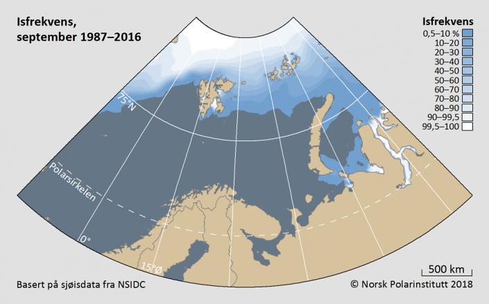 Iskantutbredelse september måned1987-2016