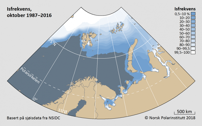 Iskantutbredelse oktober måned 1987-2016