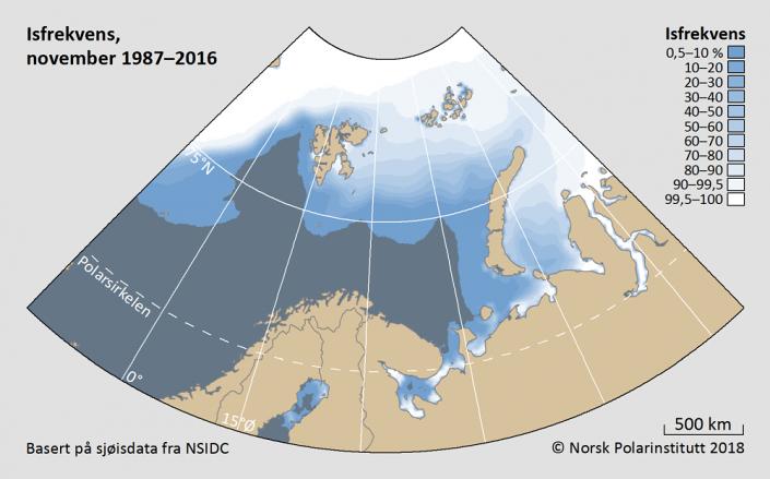 Iskantutbredelse november måned 1987-2016