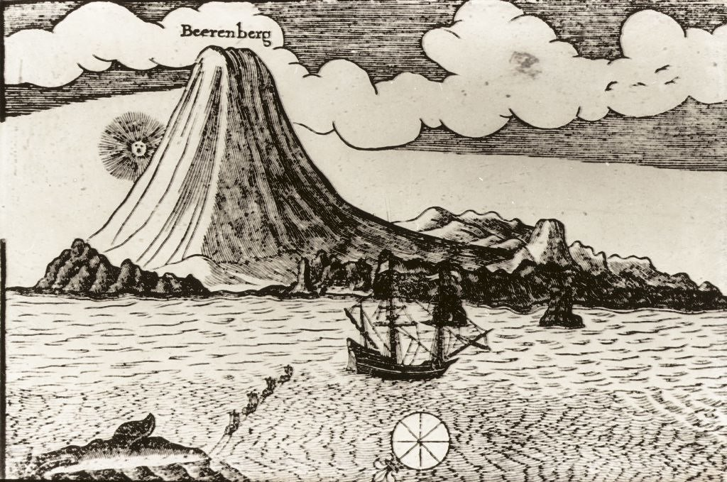 Gammel tegning som viser båt og vulkanfjell