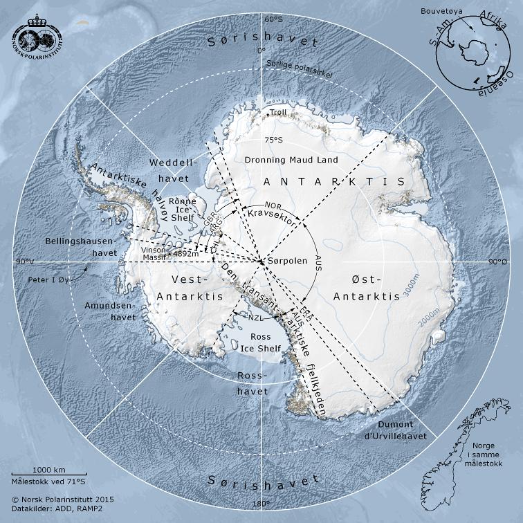 Kart over Antarktis og kravsektorer
