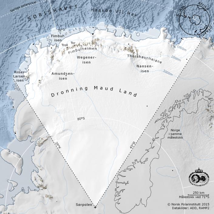 map over the norwegian sector in Antarctica