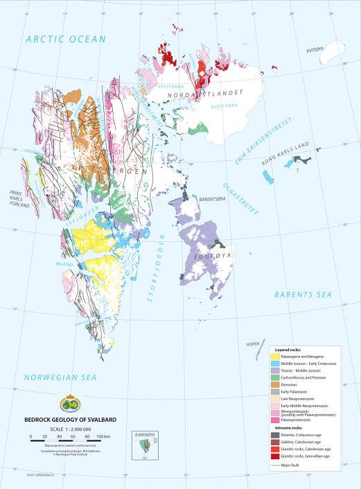 kart over berggrunnsgeologi på Svalbard
