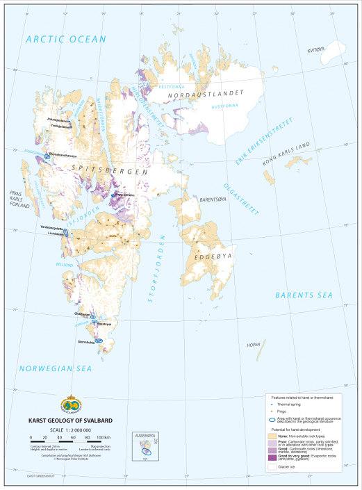 kart over karstkilder på Svalbard