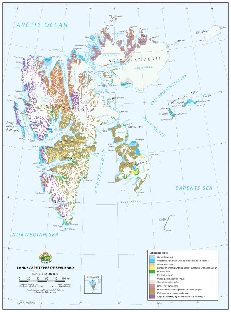 kart over landskapstyper på Svalbard