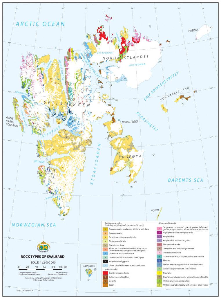 kart over bergarter på Svalbard