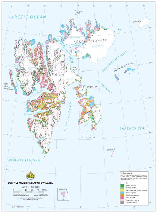 kart som viser løsmasser på Svalbard