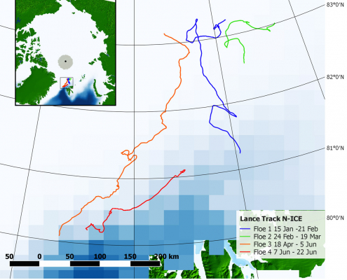 map showing drift paths