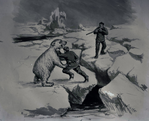 gammel tegnig vise mann som kjemper mot isbjørn på to ben