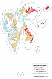 kart som viser hiområder for isbjørn