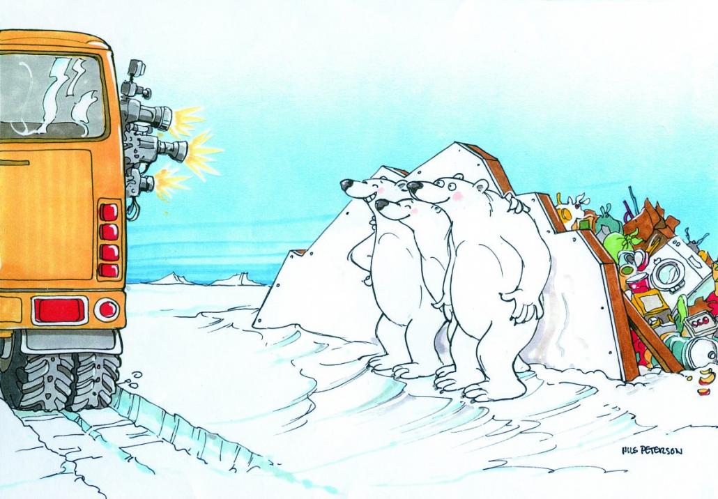 Illustrasjon av en byss med turister som fotograferer isbjørner