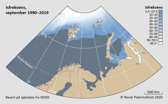Isfrekvens september 1990-2019