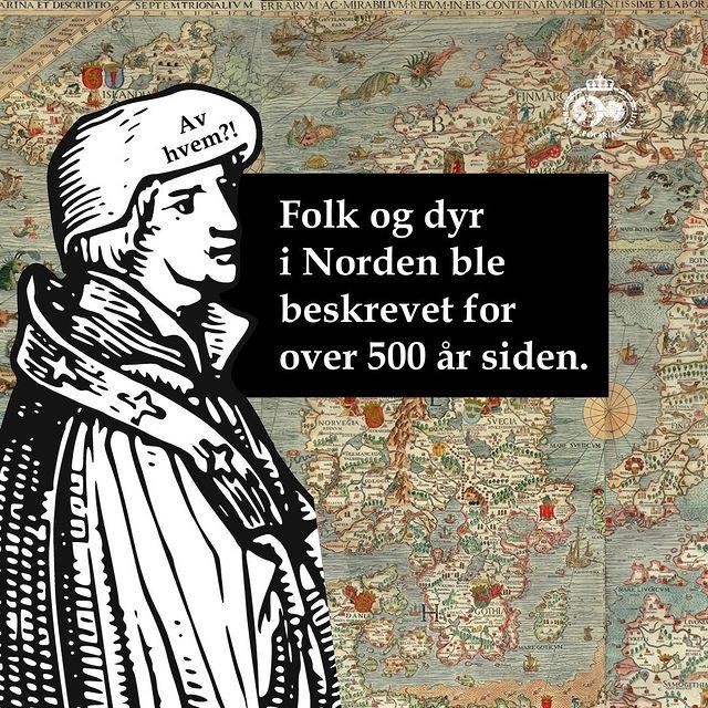 Tagnignav mann på et kart. Det er tekst på bilet som foretller at Folk og dyr i Norden ble beskrevet for over 500 år siden