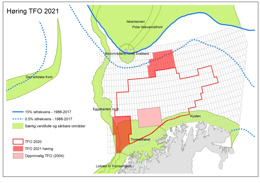 figur som viser plassering av ubrukte blokker for petroleumsleting i de nordlige farvannene for 2021